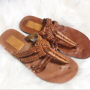 Anthropologie Latigo Brown Leather Strappy Sandle